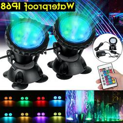 1/2X LED RGB Submersible Fountain Spot Lamp Underwater Swimm