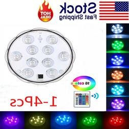 1-4 Packs Submersible LED Light w/ Remote Waterproof Pool Fo