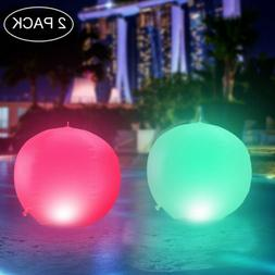 2xFloating Ball Pool Light Solar Powered Inflatable Color Ch