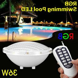 36W RGB LED Wall-Mounted Underwater Pool Light Remote Contro