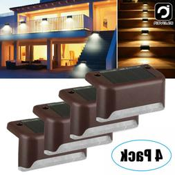 4Pc Solar Deck Fence Light LED Outdoor Step Wall Stair Path