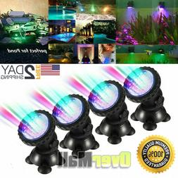 4x Multicolor Submersible 36LED RGB Pond Spot Lights Underwa