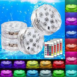 4x Waterproof Underwater Led Lights w/Remote for Swimming Po
