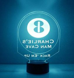 8 Ball Pool Light Up Lamp LED Personalized Pool Game Night L
