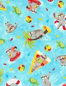 Animal Fabric - Sloth & Pool Toys on Light Blue Water - Time