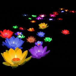 Floating Lotus Light Pool Pond Water Flower Lamp With Candle