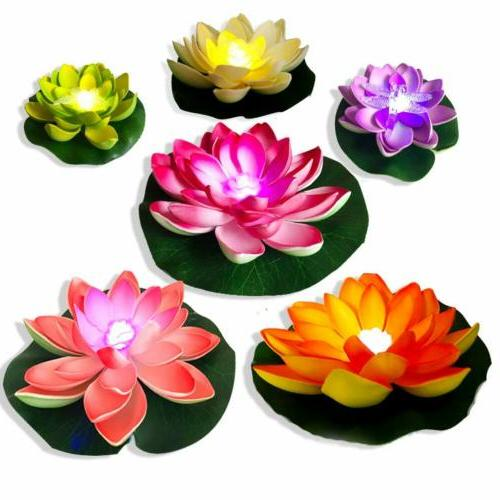 6pcs led pool floating lights water lily
