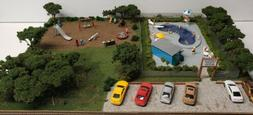 NEW BUILT HO CITY POOL AND PARK SCENE 4 TRAIN LAYOUT LIGHTED