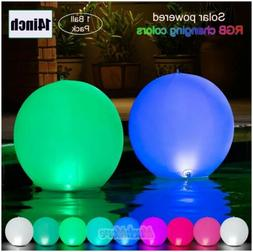 """Solar LED Lights Inflatable 14"""" Floating Pool Waterproof Col"""
